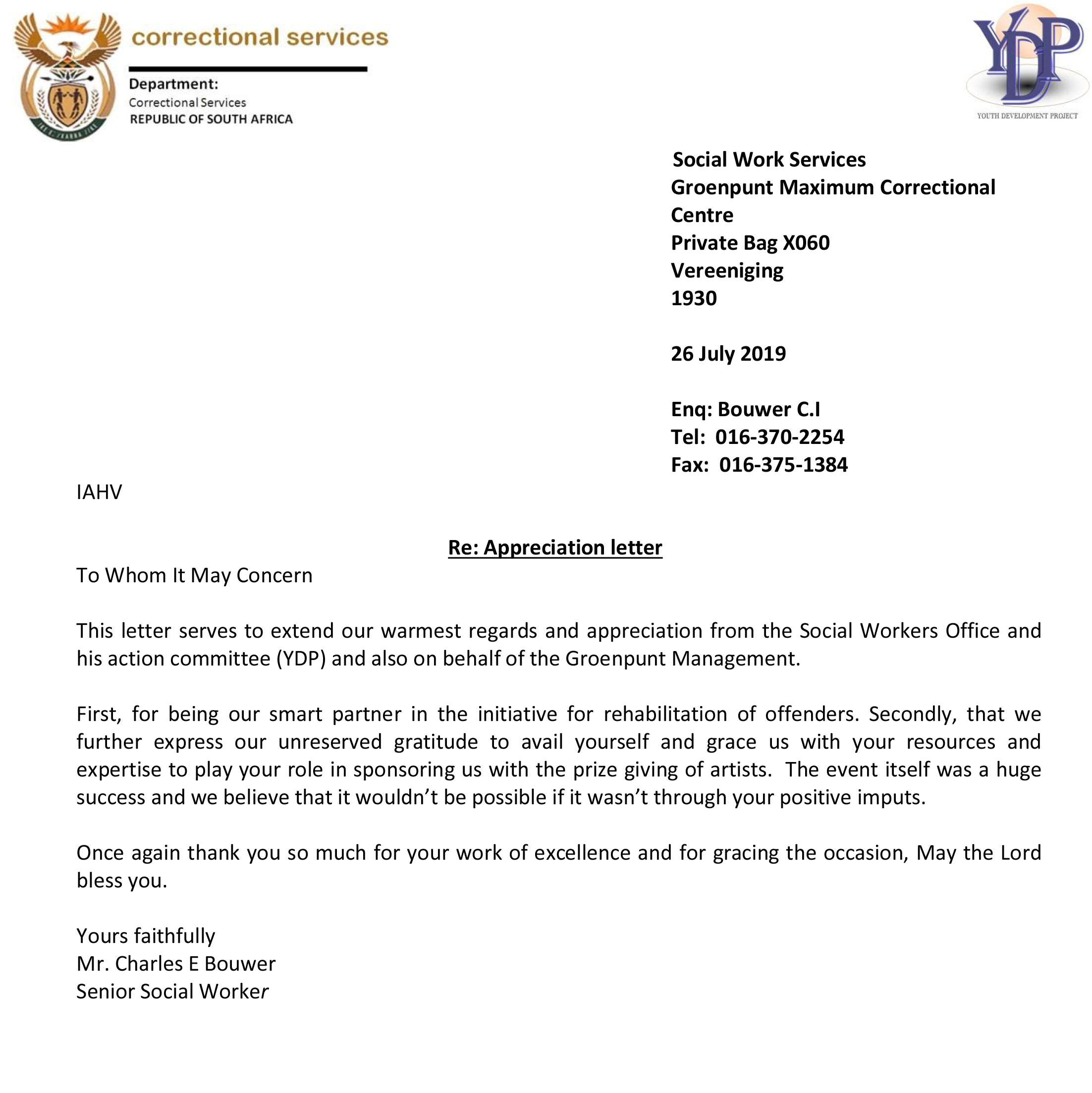 A Letter Of Appreciation from za.iahv.org